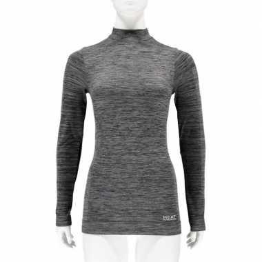 2x zwarte melange thermo shirt met lange mouwen voor dames