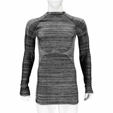 2x zwarte melange thermo shirt met lange mouwen voor heren