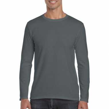 Basic heren t-shirt antraciet met lange mouwen