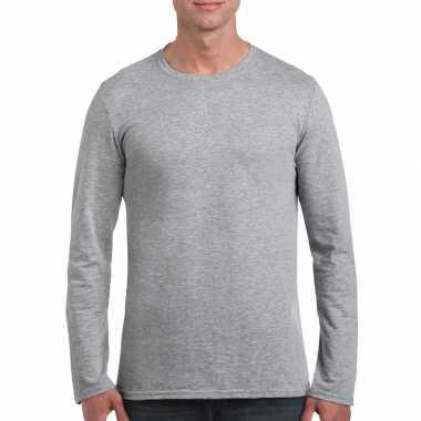 Basic heren t-shirt grijs met lange mouwen