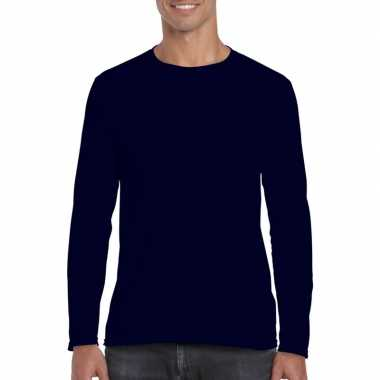 Basic heren t-shirt navy met lange mouwen