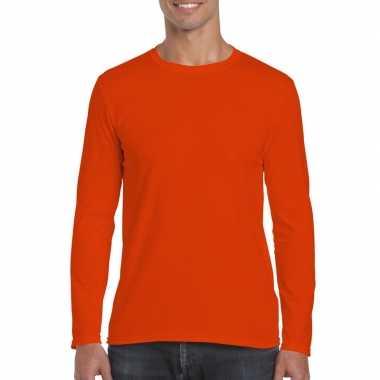 Basic heren t-shirt oranje met lange mouwen