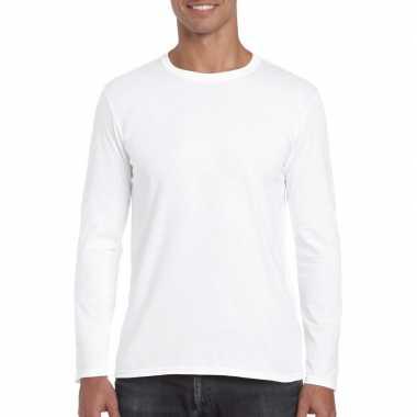 Basic heren t-shirt wit met lange mouwen