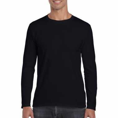 Basic heren t-shirt zwart met lange mouwen