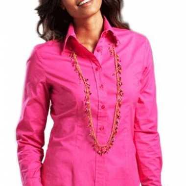 Fuchsia gekleurd dames overhemd met lange mouwen