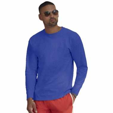 Lange mouwen stretch t-shirt blauw voor heren