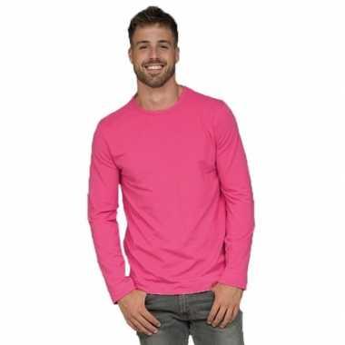 Lange mouwen stretch t-shirt fuchsia roze voor heren