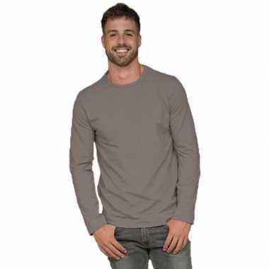 Lange mouwen stretch t-shirt grijs voor heren