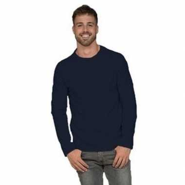 Lange mouwen stretch t-shirt navy blauw voor heren