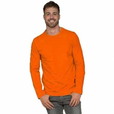 Lange mouwen stretch t-shirt oranje voor heren