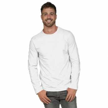 Lange mouwen stretch t-shirt wit voor heren