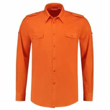 Oranje overhemd met lange mouwen