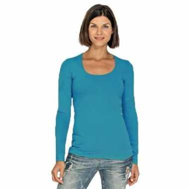 Turquoise dames shirt met ronde hals en lange mouwen
