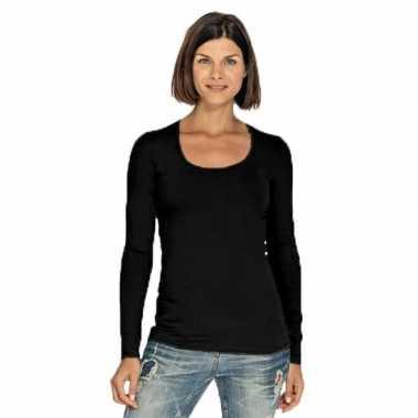 Zwart dames shirt met ronde hals en lange mouwen