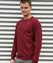 Heren shirt lange mouwen bordeaux rood