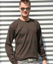 Heren shirt lange mouwen bruin