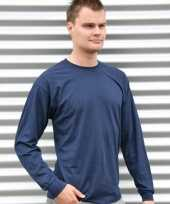 Heren shirt lange mouwen navy blauw
