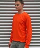 Heren shirt lange mouwen oranje
